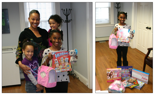Priya donates her presents to the kids at the shelter
